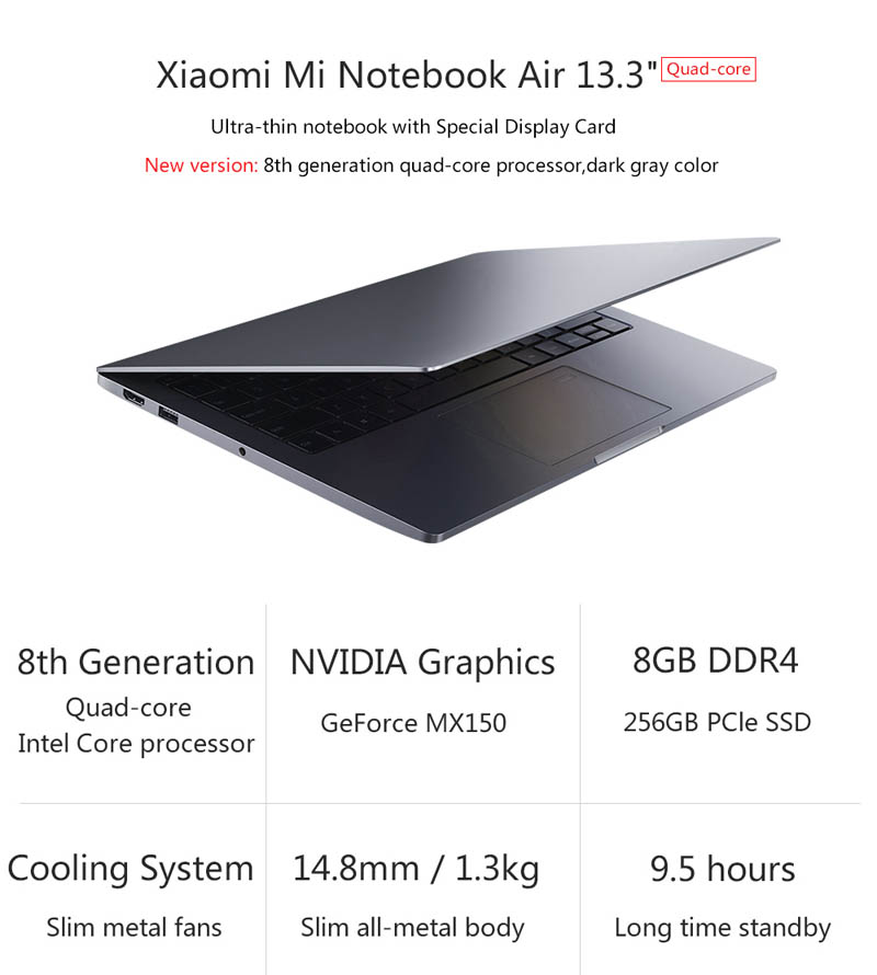Xiaomi Mi Notebook Air 13 2018 CPU Intel 8a i5 i7